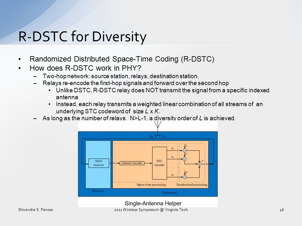 Randomized Distributed Space-Time Coding (R-DSTC) How does R-DSTC work in PHY? –Two-hop network: source station, relays, destination station. –Relays