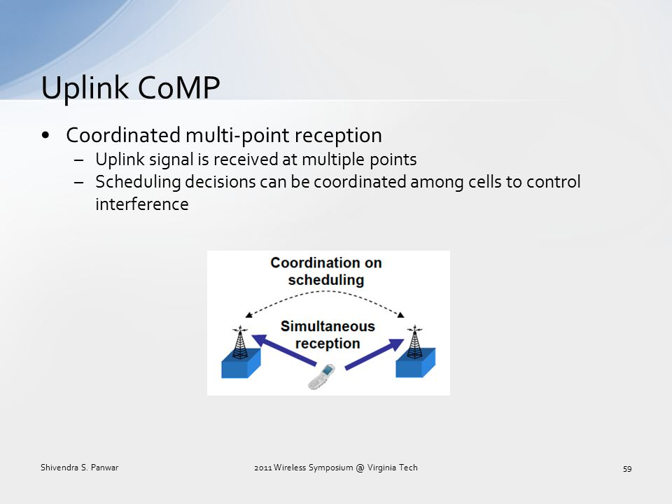 Uplink CoMP Coordinated multi-point reception –Uplink signal is received at multiple points –Scheduling decisions can be coordinated among cells to co