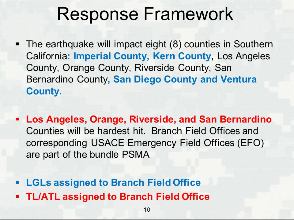 Response Framework  The earthquake will impact eight (8) counties in Southern California: Imperial County, Kern County, Los Angeles County, Orange Co