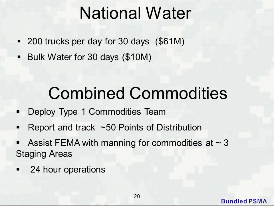National Water  200 trucks per day for 30 days ($61M)  Bulk Water for 30 days ($10M) 20 Combined Commodities  Deploy Type 1 Commodities Team  Repo