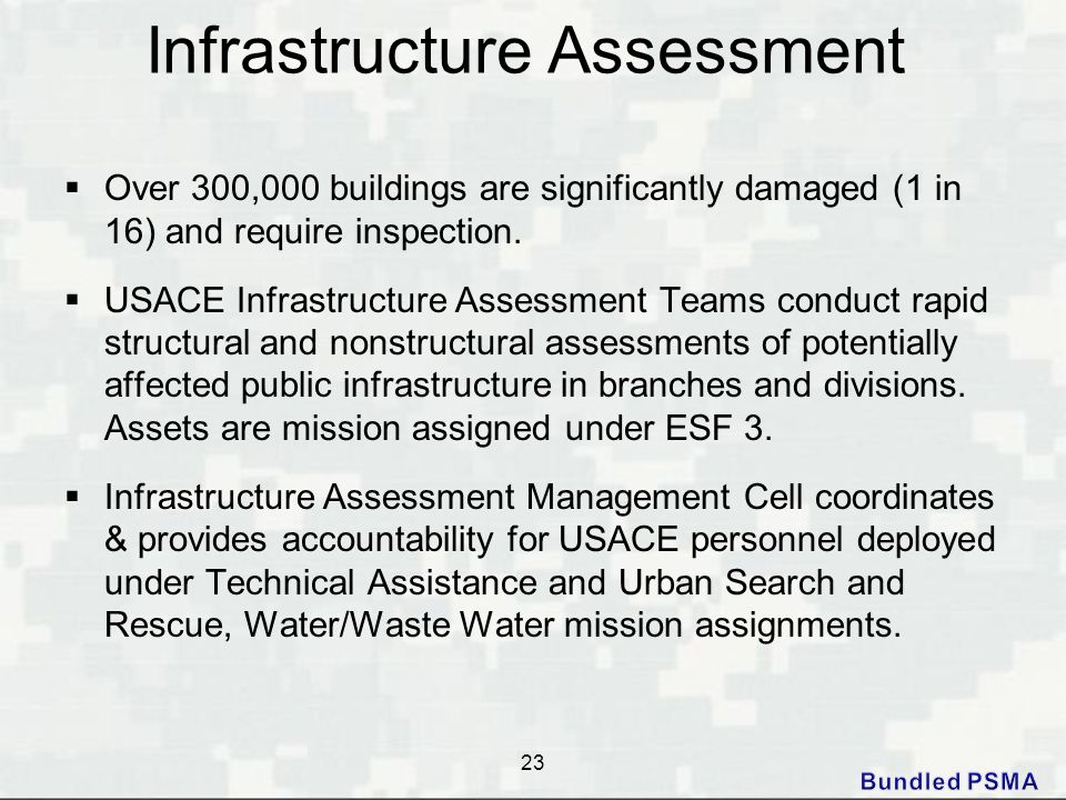 Infrastructure Assessment  Over 300,000 buildings are significantly damaged (1 in 16) and require inspection.  USACE Infrastructure Assessment Teams