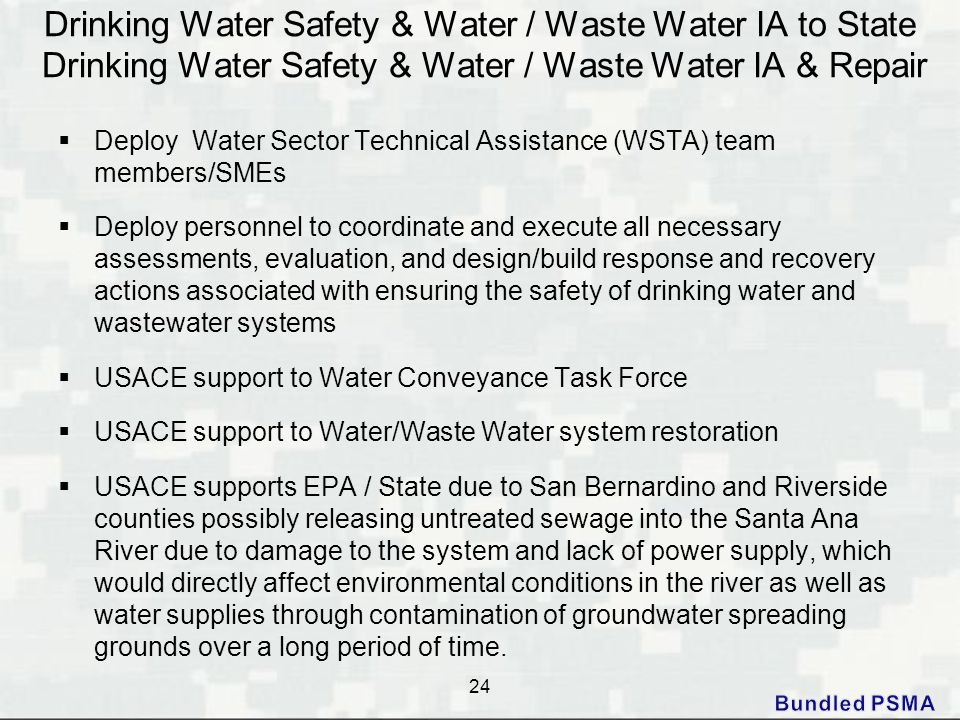 Drinking Water Safety & Water / Waste Water IA to State Drinking Water Safety & Water / Waste Water IA & Repair  Deploy Water Sector Technical Assist