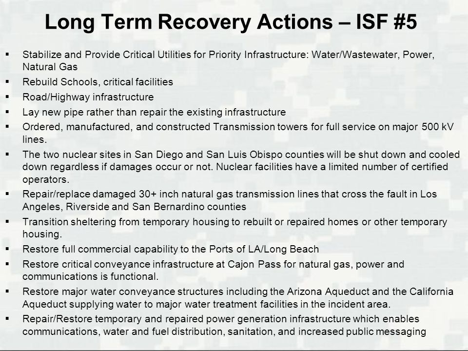 Long Term Recovery Actions – ISF #5  Stabilize and Provide Critical Utilities for Priority Infrastructure: Water/Wastewater, Power, Natural Gas  Reb