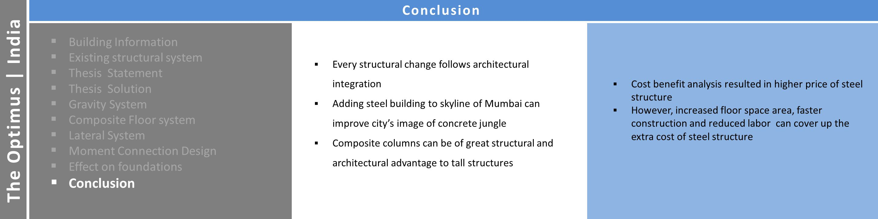 Facades Architecture The Optimus | India Conclusion  Building Information  Existing structural system  Thesis Statement  Thesis Solution  Gravity