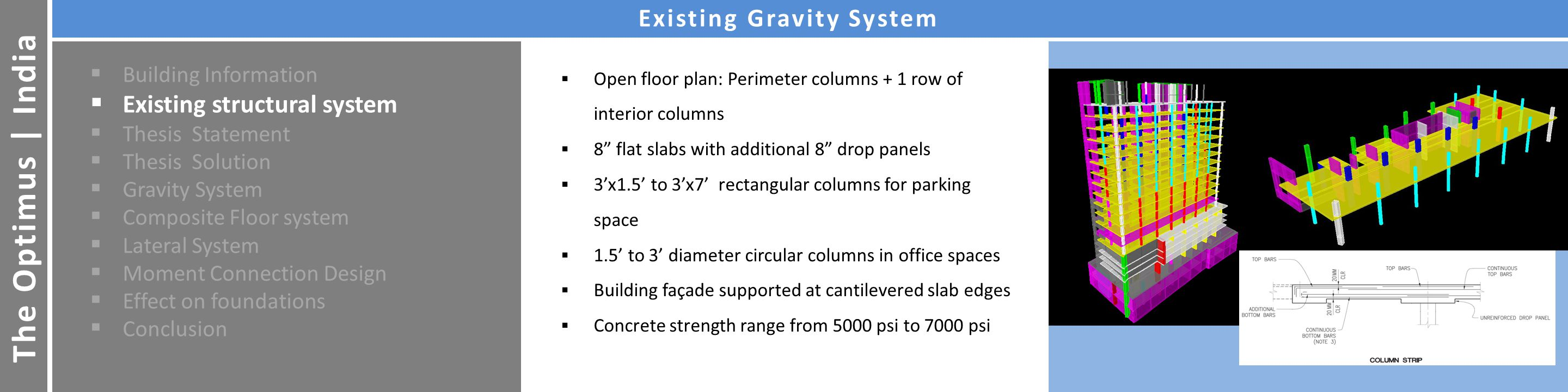 Architecture The Optimus | India Existing Gravity System  Building Information  Existing structural system  Thesis Statement  Thesis Solution  Gravity System  Composite Floor system  Lateral System  Moment Connection Design  Effect on foundations  Conclusion  Open floor plan: Perimeter columns + 1 row of interior columns  8 flat slabs with additional 8 drop panels  3'x1.5' to 3'x7' rectangular columns for parking space  1.5' to 3' diameter circular columns in office spaces  Building façade supported at cantilevered slab edges  Concrete strength range from 5000 psi to 7000 psi