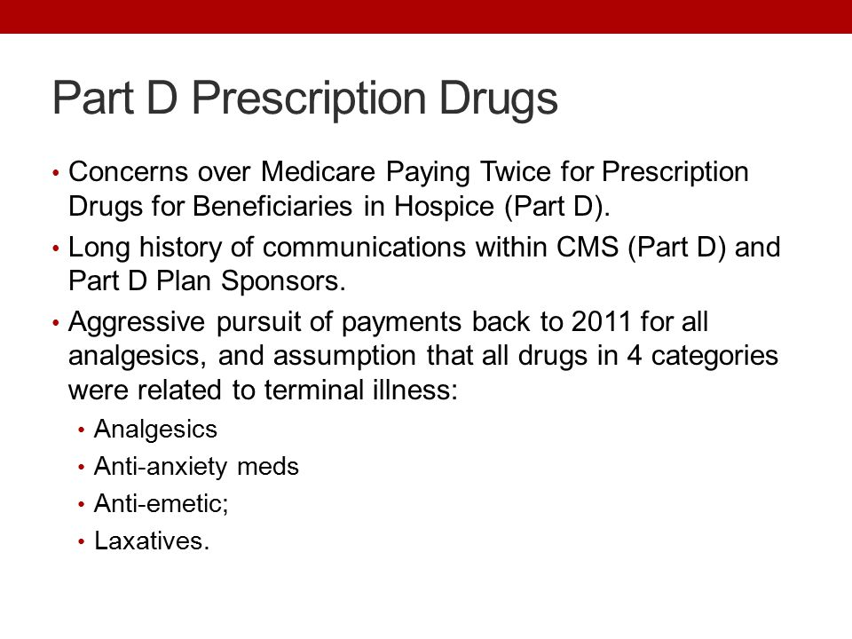 Part D Prescription Drugs Concerns over Medicare Paying Twice for Prescription Drugs for Beneficiaries in Hospice (Part D).