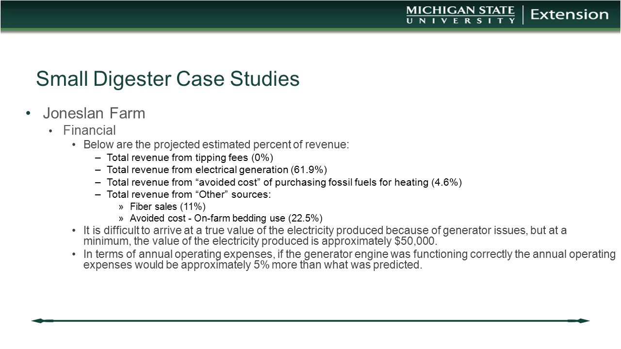 Small Digester Case Studies Joneslan Farm Financial Below are the projected estimated percent of revenue: –Total revenue from tipping fees (0%) –Total