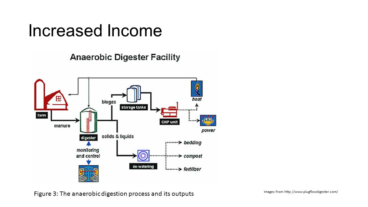 Increased Income Images from http://www.plugflowdigester.com/ Figure 3: The anaerobic digestion process and its outputs