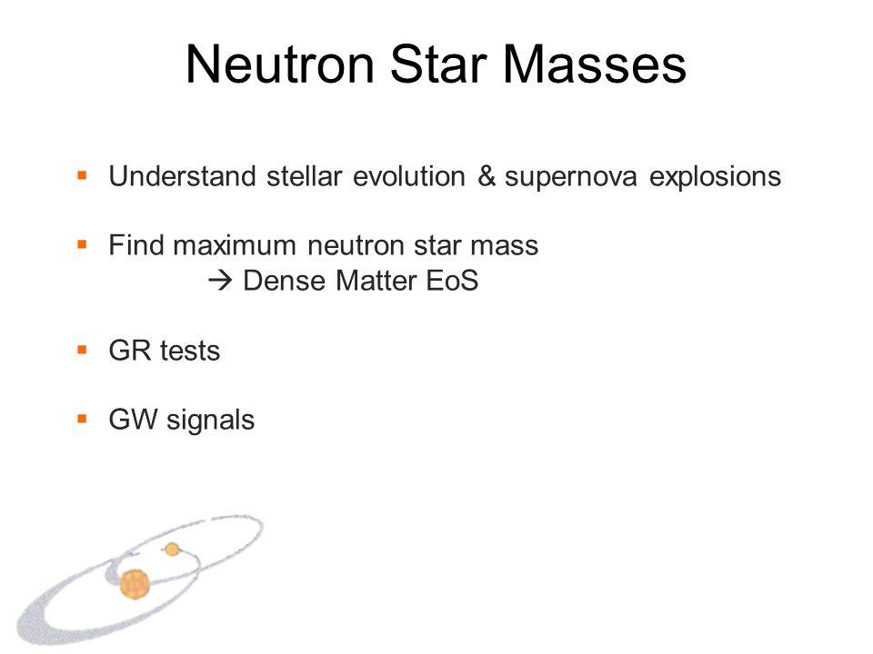Neutron Star Masses  Understand stellar evolution & supernova explosions  Find maximum neutron star mass  Dense Matter EoS  GR tests  GW signals