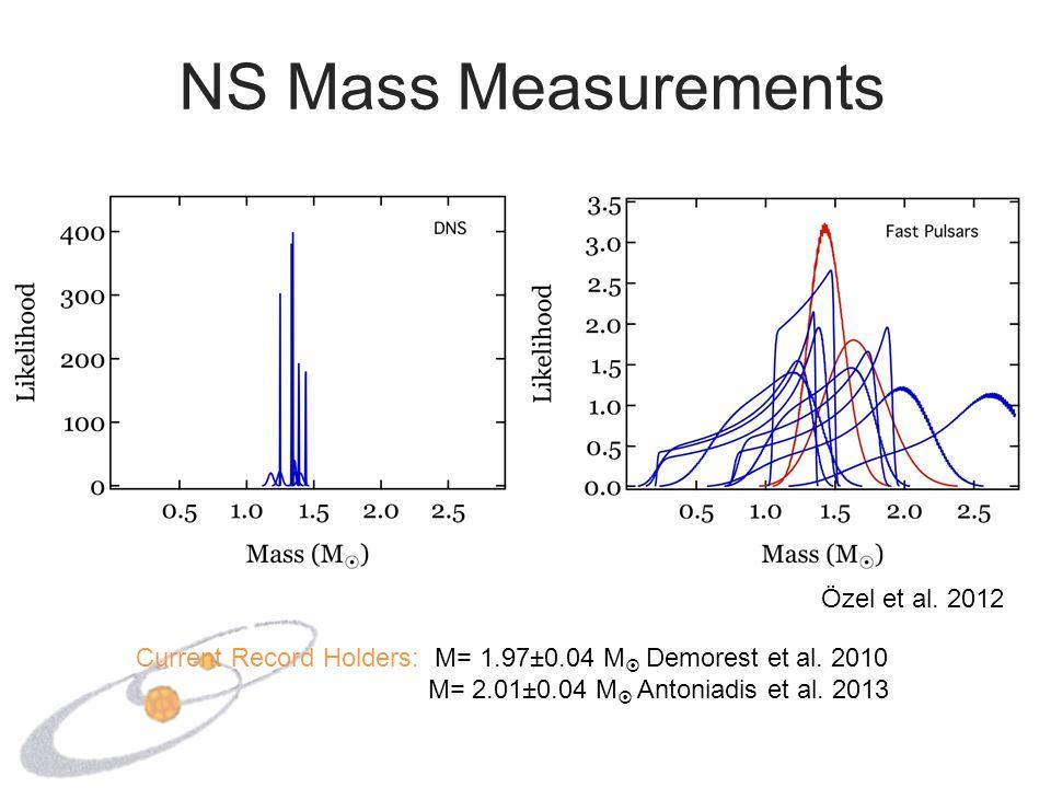 NS Mass Measurements Özel et al. 2012 Current Record Holders: M= 1.97±0.04 M  Demorest et al. 2010 M= 2.01±0.04 M  Antoniadis et al. 2013