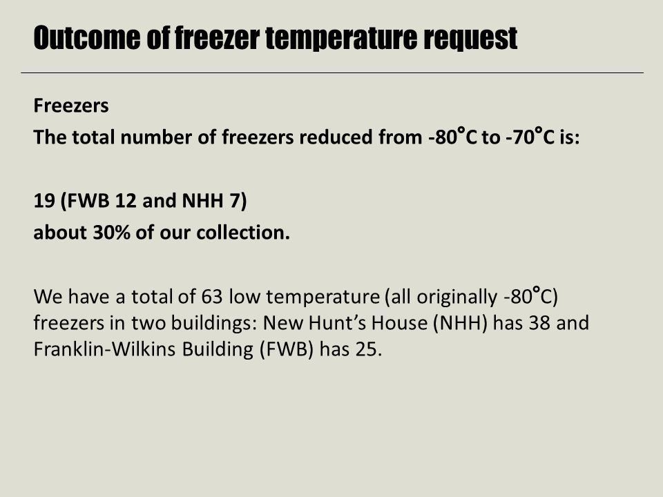 Outcome of freezer temperature request Freezers The total number of freezers reduced from -80°C to -70°C is: 19 (FWB 12 and NHH 7) about 30% of our collection.