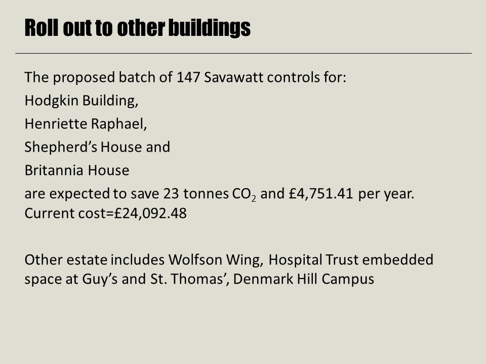 Roll out to other buildings The proposed batch of 147 Savawatt controls for: Hodgkin Building, Henriette Raphael, Shepherd's House and Britannia House are expected to save 23 tonnes CO 2 and £4,751.41 per year.