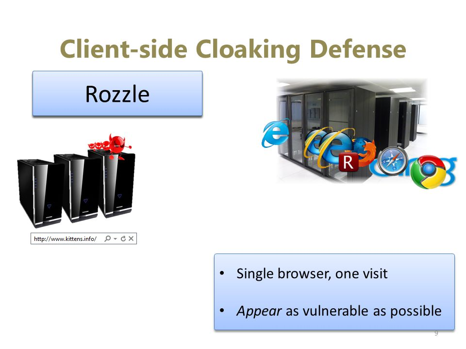 Client-side Cloaking Defense Traditional Rozzle Single browser, one visit Appear as vulnerable as possible Single browser, one visit Appear as vulnerable as possible 9