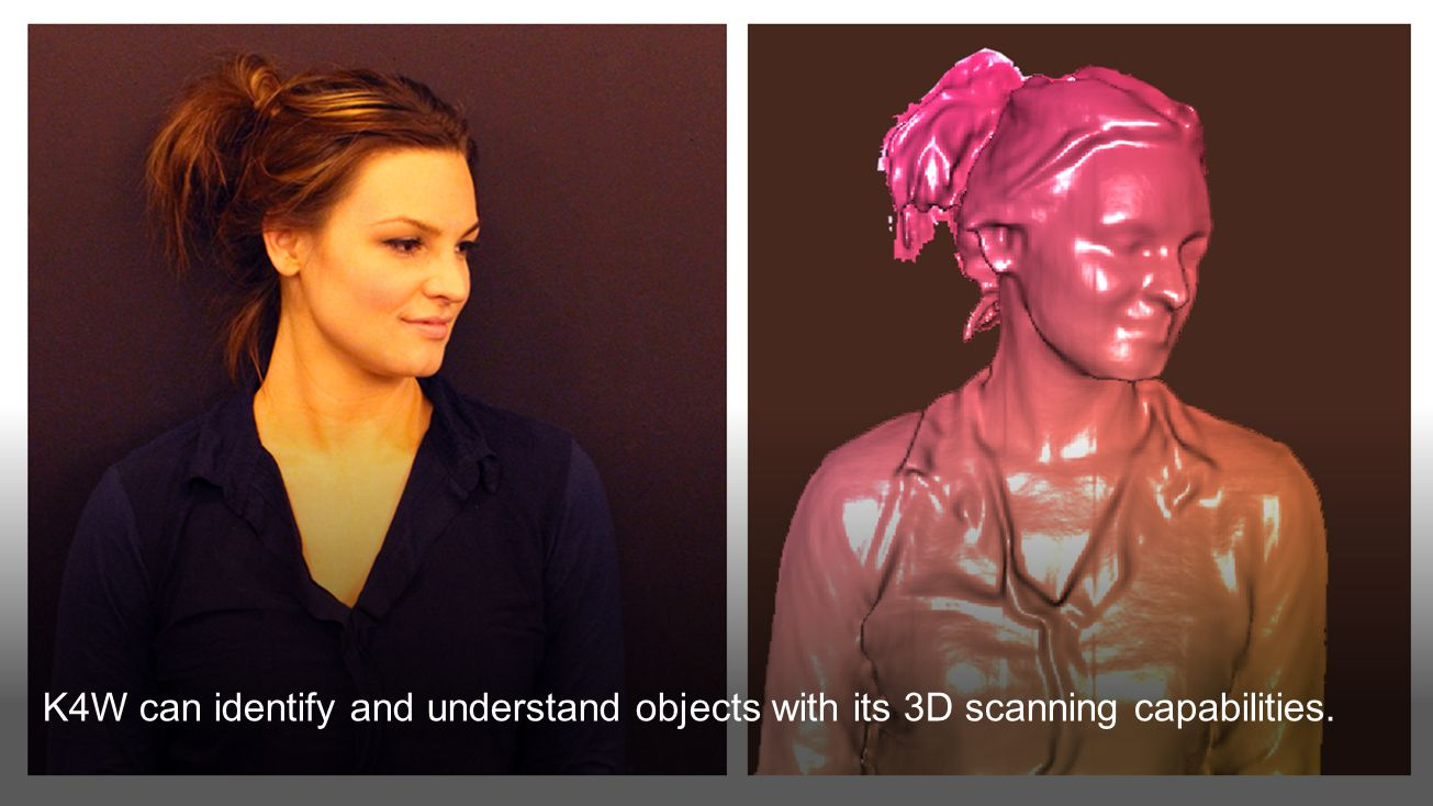 K4W can identify and understand objects with its 3D scanning capabilities.