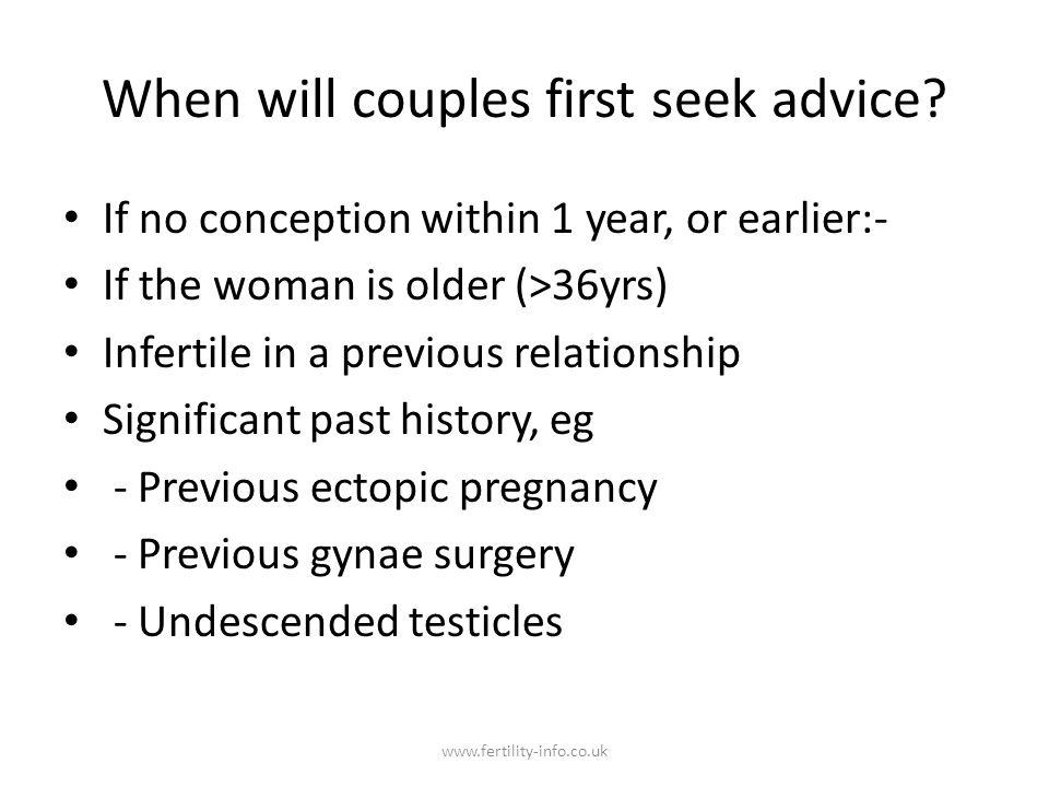 Semen analysis (WHO 2010) Volume >1.5mls pH >7.2 Sperm concentration >15 x 10/6 per ml Total sperm count > 39 x 10/6 Motility >40 %, >32% progressive motility Morphology >4% by strict criteria WBC <1 x 10/6 per ml www.fertility-info.co.uk
