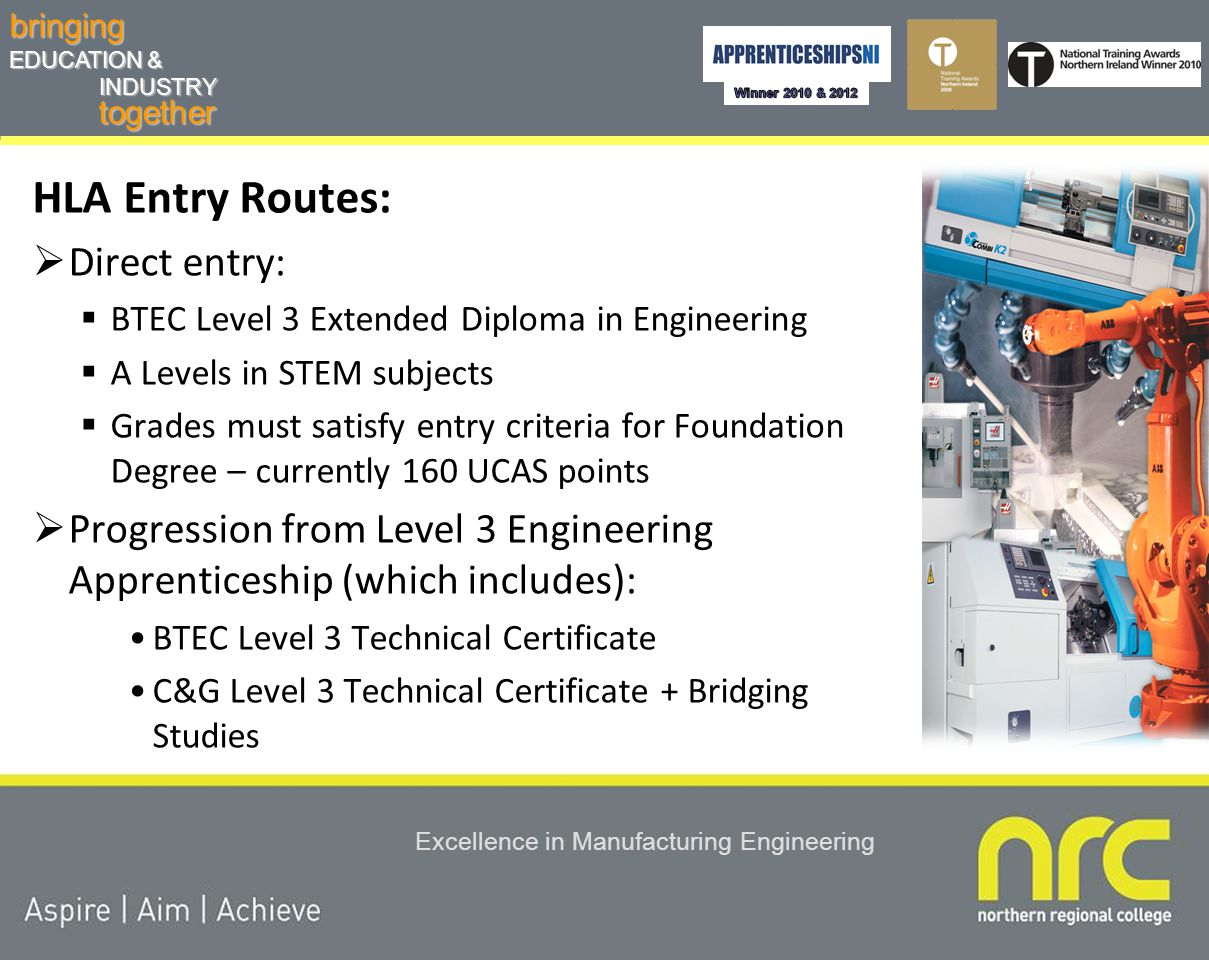 togetherbringing EDUCATION & INDUSTRY Excellence in Manufacturing Engineering HLA Framework  Must be in full-time employment  Competency based NVQ at Level 2, 3 and 4  Foundation Degree Technical Certificate  At least TWO years training/study with 130 weeks for completion Funding  Specialised for the PILOT