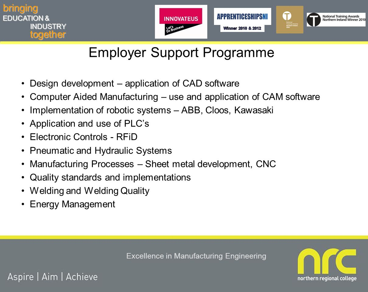 togetherbringing EDUCATION & INDUSTRY Excellence in Manufacturing Engineering Employer Support Programme ESP Audit – analysis of needs Agree delivery schedule – 30 hours Bespoke delivery tailored to client –On or off site –Use of industrial level equipment and software –Access to skilled staff and industrial level knowledge