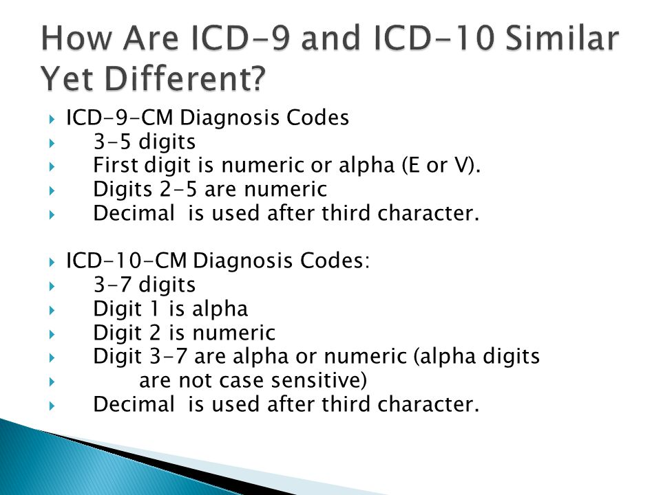 ICD-9-CM Diagnosis Codes  3-5 digits  First digit is numeric or alpha (E or V).  Digits 2-5 are numeric  Decimal is used after third character.