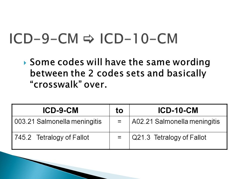 """ Some codes will have the same wording between the 2 codes sets and basically """"crosswalk"""" over. ICD-9-CMtoICD-10-CM 003.21 Salmonella meningitis=A02."""