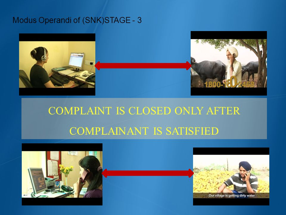 Modus Operandi of (SNK)STAGE - 3 COMPLAINT IS CLOSED ONLY AFTER COMPLAINANT IS SATISFIED