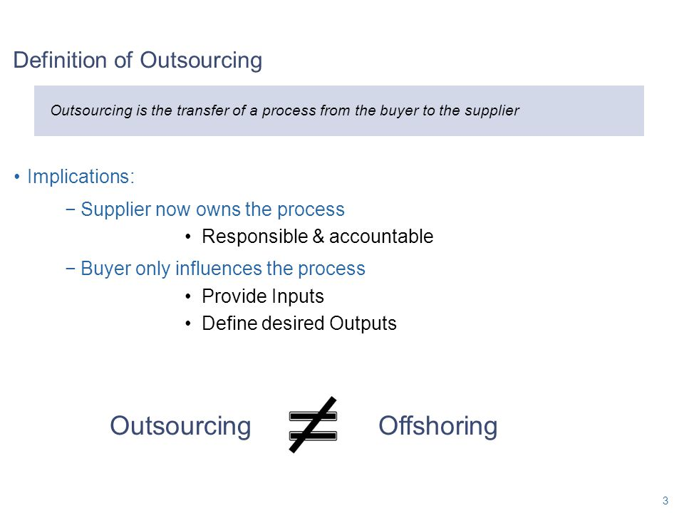 Implications: −Supplier now owns the process Responsible & accountable −Buyer only influences the process Provide Inputs Define desired Outputs Defini