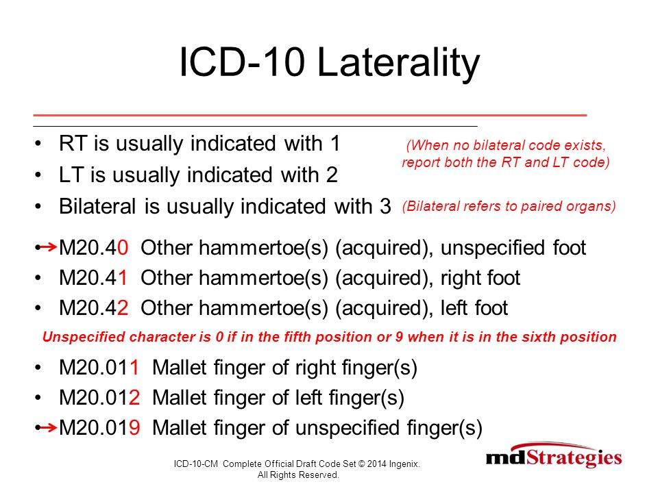 ICD-10 Laterality RT is usually indicated with 1 LT is usually indicated with 2 Bilateral is usually indicated with 3 M20.40 Other hammertoe(s) (acquired), unspecified foot M20.41 Other hammertoe(s) (acquired), right foot M20.42 Other hammertoe(s) (acquired), left foot Unspecified character is 0 if in the fifth position or 9 when it is in the sixth position M20.011 Mallet finger of right finger(s) M20.012 Mallet finger of left finger(s) M20.019 Mallet finger of unspecified finger(s) ICD-10-CM Complete Official Draft Code Set © 2014 Ingenix.