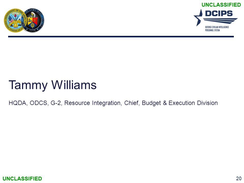 UNCLASSIFIED Tammy Williams HQDA, ODCS, G-2, Resource Integration, Chief, Budget & Execution Division 20 UNCLASSIFIED