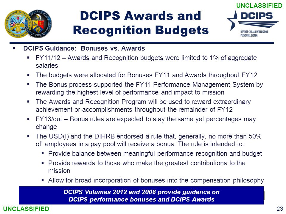 UNCLASSIFIED 23 DCIPS Awards and Recognition Budgets  DCIPS Guidance: Bonuses vs. Awards  FY11/12 – Awards and Recognition budgets were limited to 1
