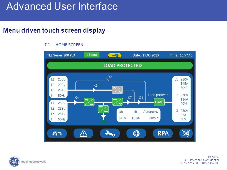 Page 24 GE– Internal & Confidential TLE Series 250-500 kVA/kW UL Advanced User Interface Menu driven touch screen display