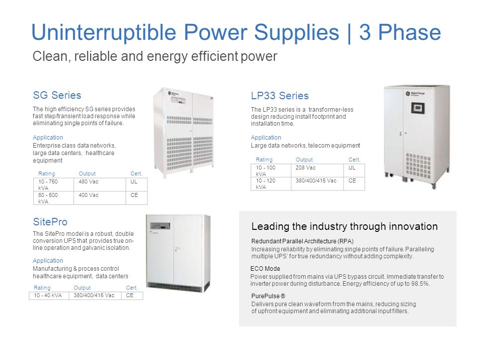 Uninterruptible Power Supplies | 3 Phase Clean, reliable and energy efficient power The high efficiency SG series provides fast step/transient load re