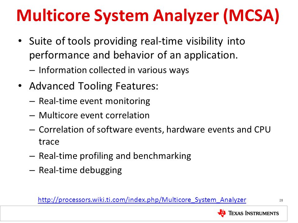 Multicore System Analyzer (MCSA) Suite of tools providing real-time visibility into performance and behavior of an application.
