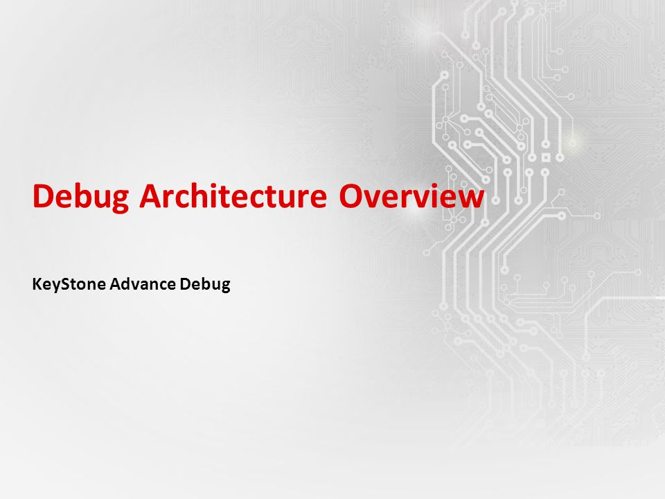 Debug Architecture Overview KeyStone Advance Debug