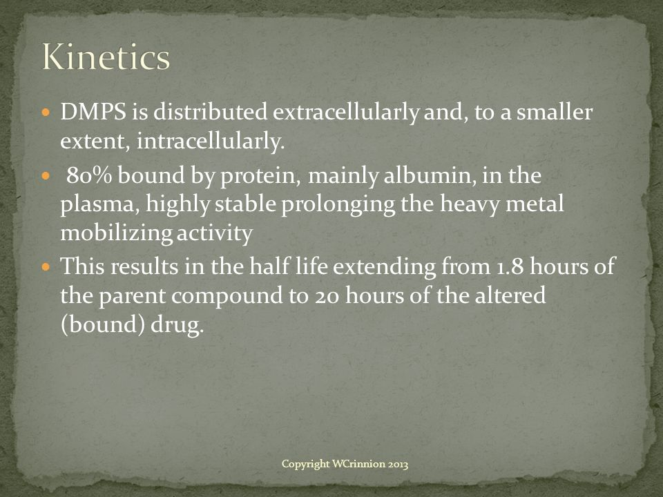 DMPS is distributed extracellularly and, to a smaller extent, intracellularly.