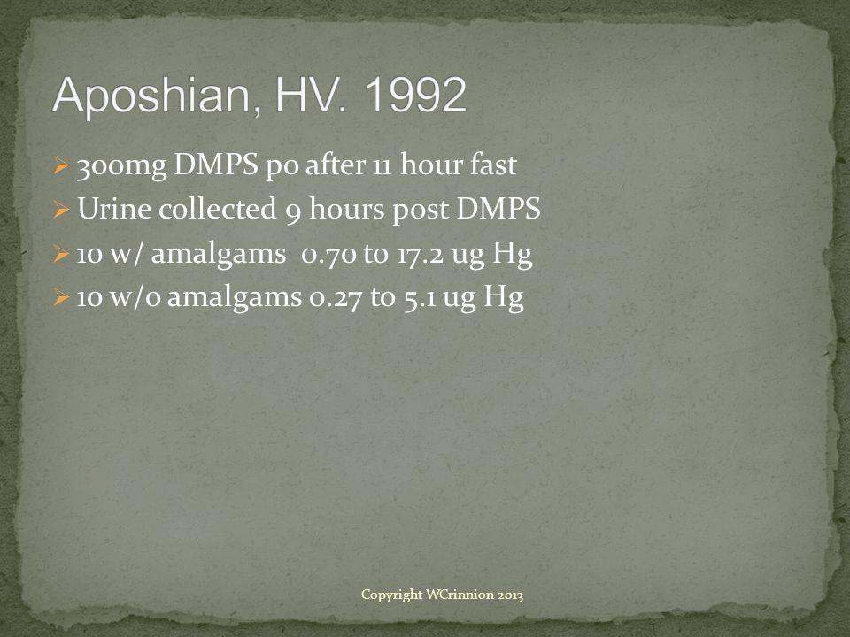  300mg DMPS po after 11 hour fast  Urine collected 9 hours post DMPS  10 w/ amalgams 0.70 to 17.2 ug Hg  10 w/o amalgams 0.27 to 5.1 ug Hg Copyright WCrinnion 2013