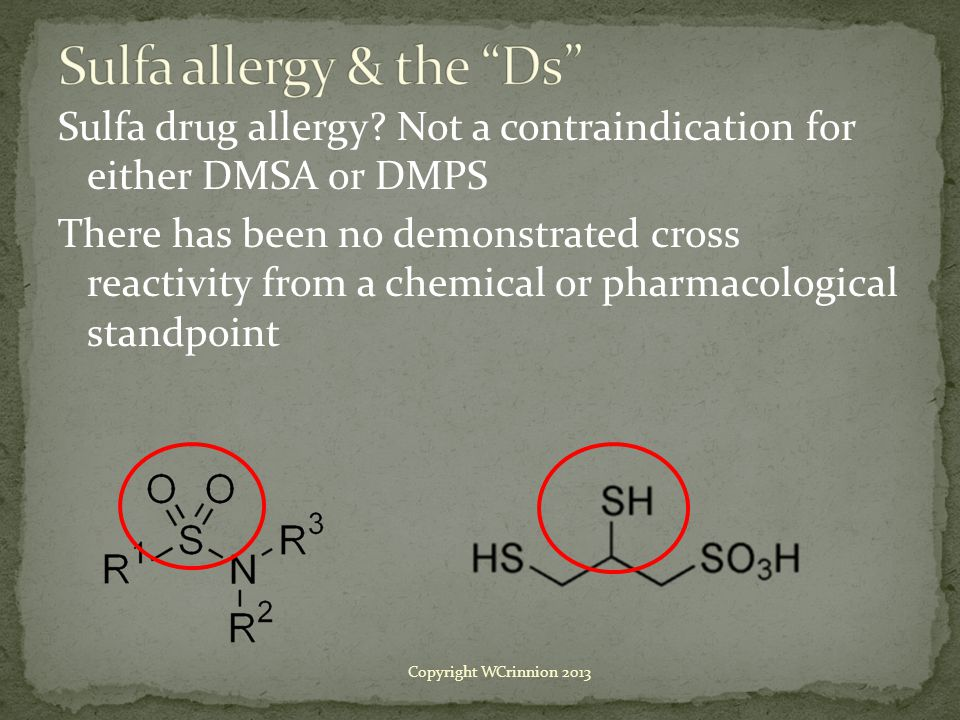 Sulfa drug allergy.