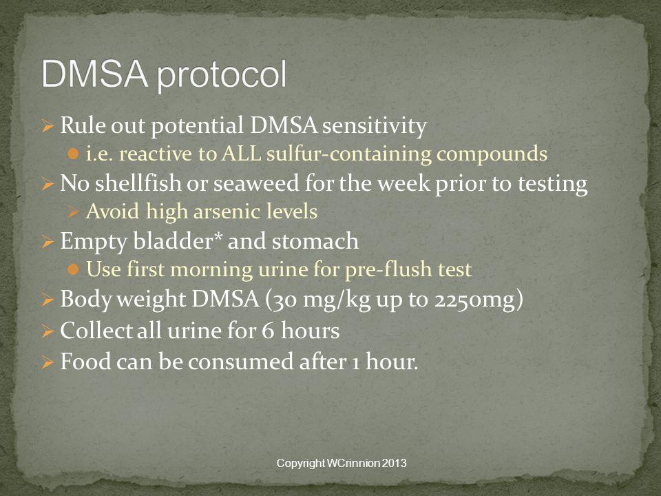  Rule out potential DMSA sensitivity i.e.