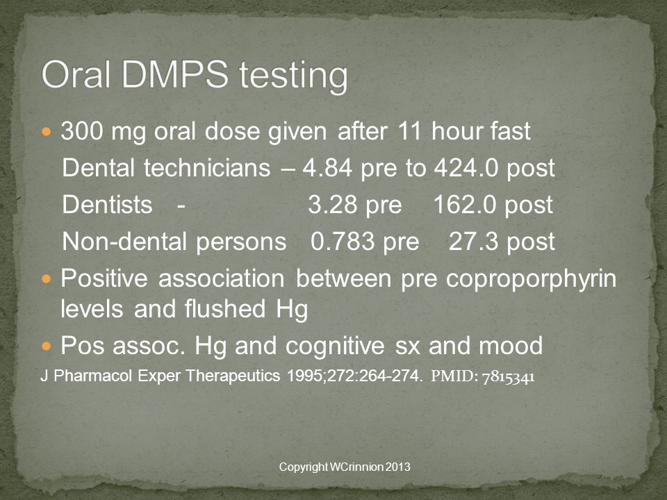 300 mg oral dose given after 11 hour fast Dental technicians – 4.84 pre to 424.0 post Dentists - 3.28 pre 162.0 post Non-dental persons 0.783 pre 27.3 post Positive association between pre coproporphyrin levels and flushed Hg Pos assoc.