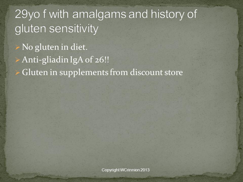  No gluten in diet. Anti-gliadin IgA of 26!.