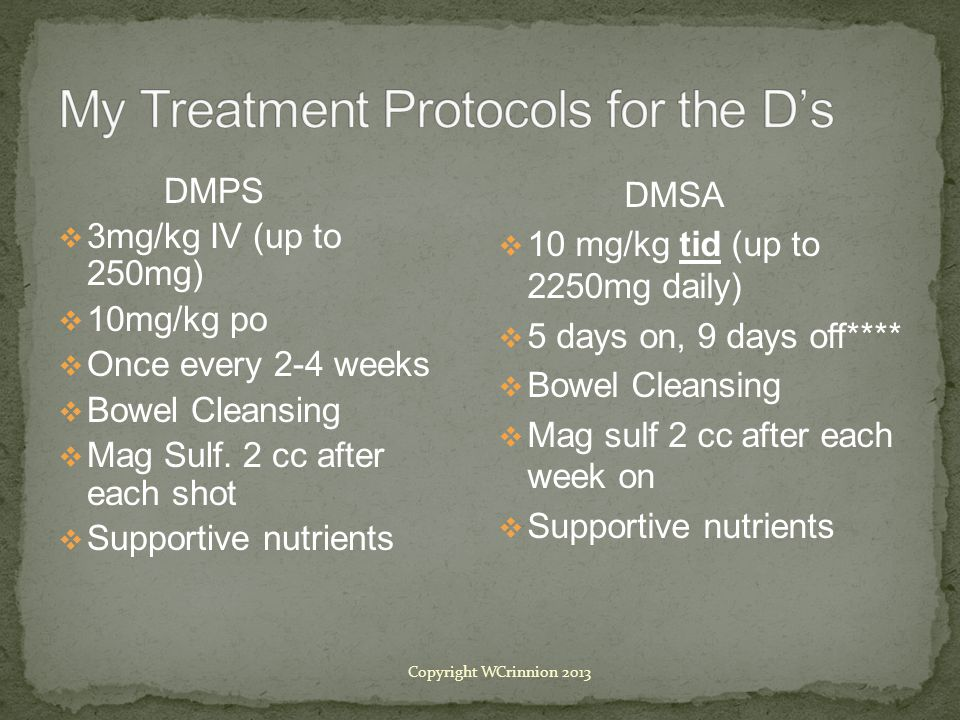 DMPS  3mg/kg IV (up to 250mg)  10mg/kg po  Once every 2-4 weeks  Bowel Cleansing  Mag Sulf.
