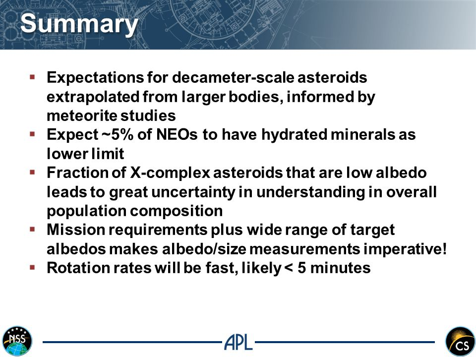  Expectations for decameter-scale asteroids extrapolated from larger bodies, informed by meteorite studies  Expect ~5% of NEOs to have hydrated minerals as lower limit  Fraction of X-complex asteroids that are low albedo leads to great uncertainty in understanding in overall population composition  Mission requirements plus wide range of target albedos makes albedo/size measurements imperative.