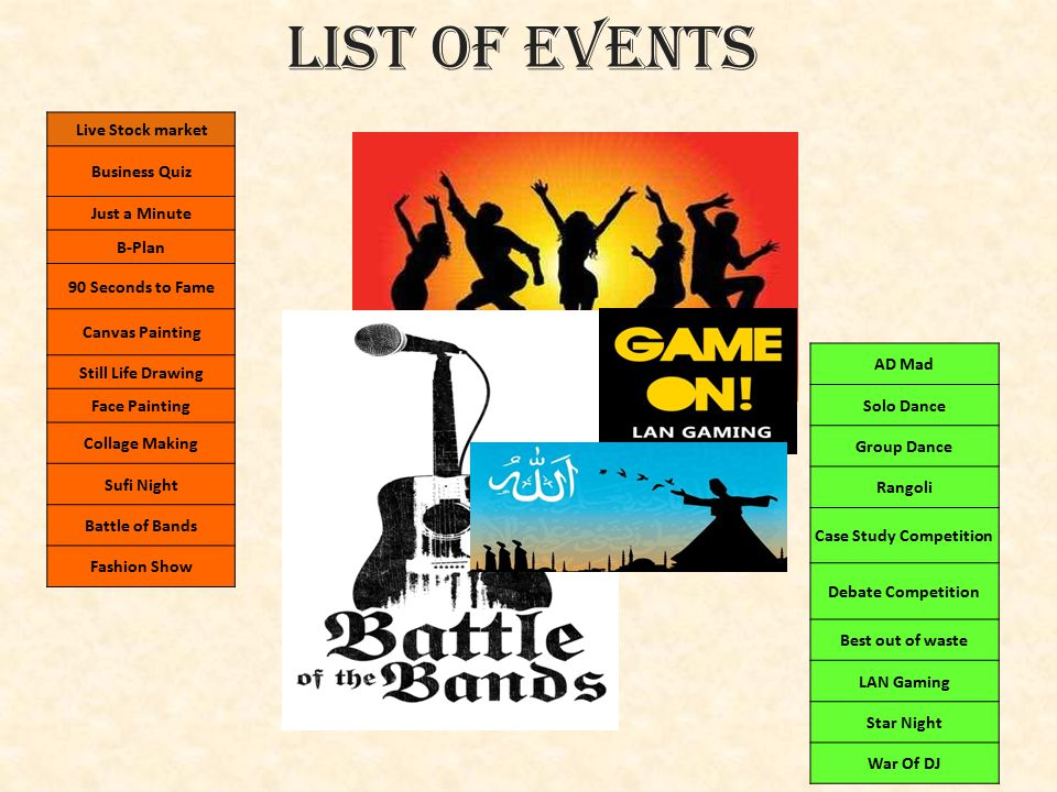 List Of Events Live Stock market Business Quiz Just a Minute B-Plan 90 Seconds to Fame Canvas Painting Still Life Drawing Face Painting Collage Making Sufi Night Battle of Bands Fashion Show AD Mad Solo Dance Group Dance Rangoli Case Study Competition Debate Competition Best out of waste LAN Gaming Star Night War Of DJ