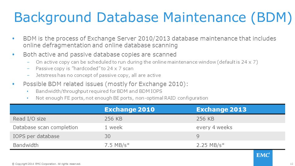 10© Copyright 2014 EMC Corporation. All rights reserved. Background Database Maintenance (BDM)  BDM is the process of Exchange Server 2010/2013 datab