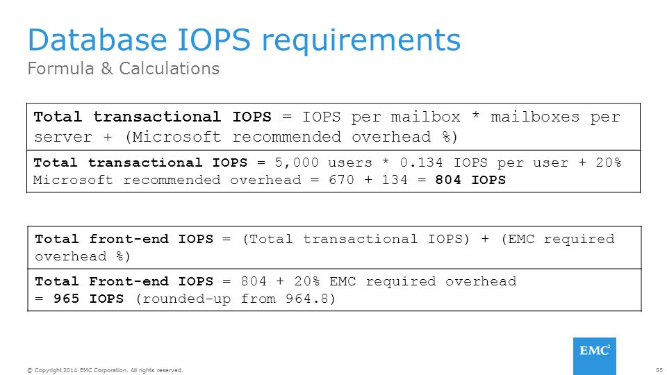 85© Copyright 2014 EMC Corporation. All rights reserved. Formula & Calculations Database IOPS requirements Total transactional IOPS = IOPS per mailbox