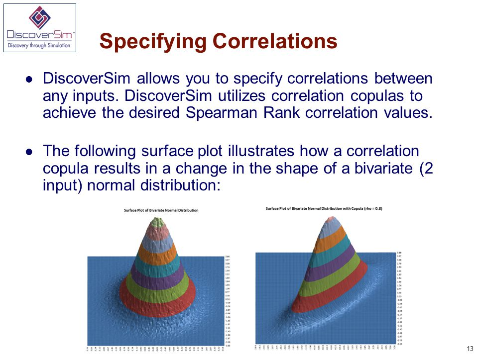 13 Specifying Correlations DiscoverSim allows you to specify correlations between any inputs.
