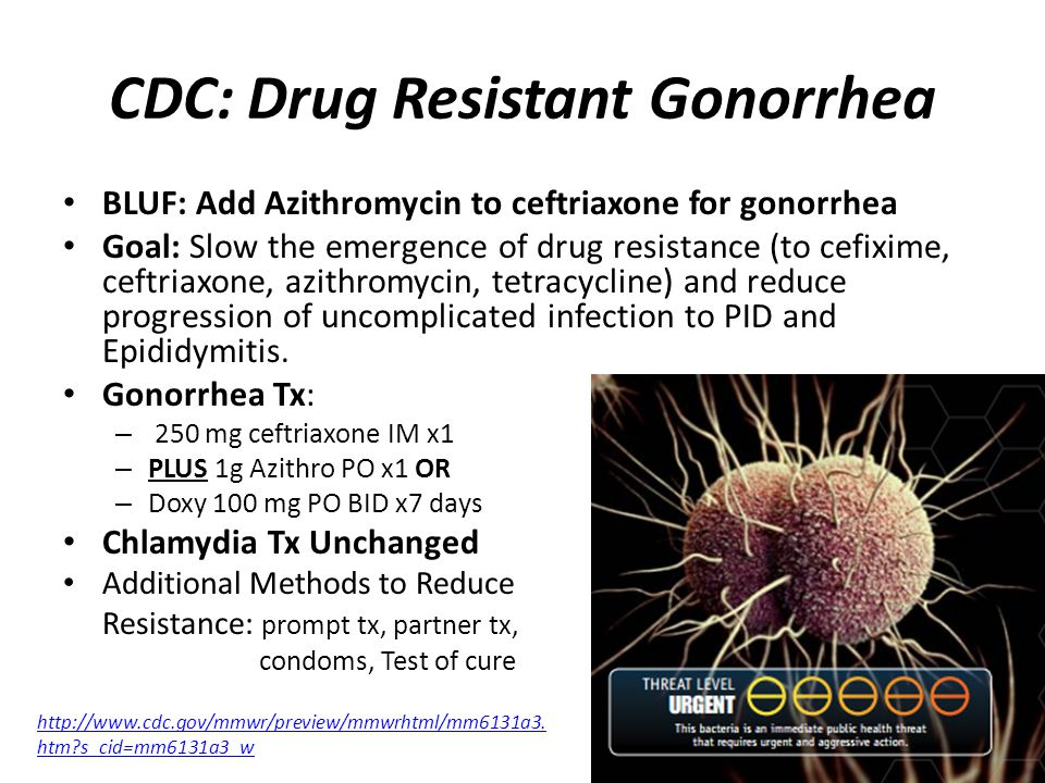 CDC: Drug Resistant Gonorrhea BLUF: Add Azithromycin to ceftriaxone for gonorrhea Goal: Slow the emergence of drug resistance (to cefixime, ceftriaxone, azithromycin, tetracycline) and reduce progression of uncomplicated infection to PID and Epididymitis.