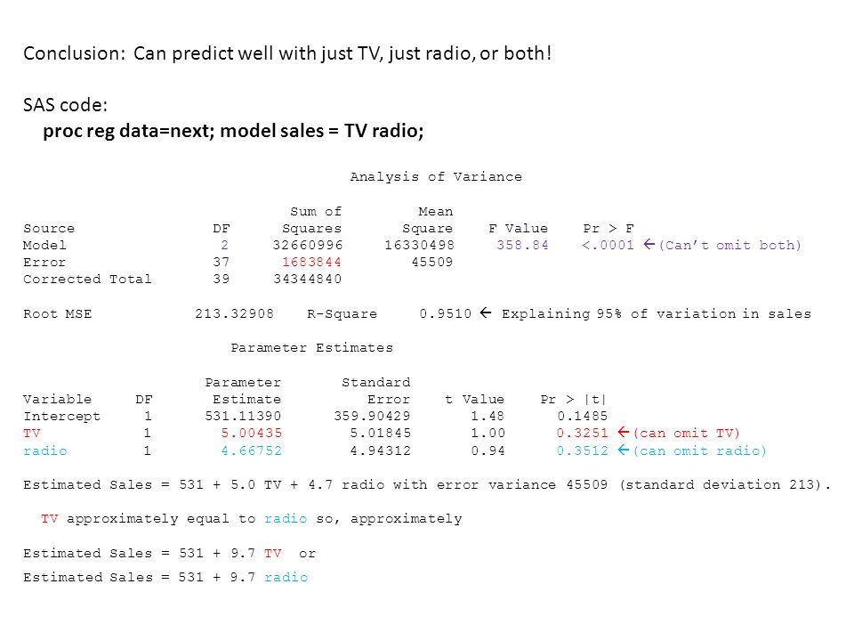 Conclusion: Can predict well with just TV, just radio, or both! SAS code: proc reg data=next; model sales = TV radio; Analysis of Variance Sum of Mean