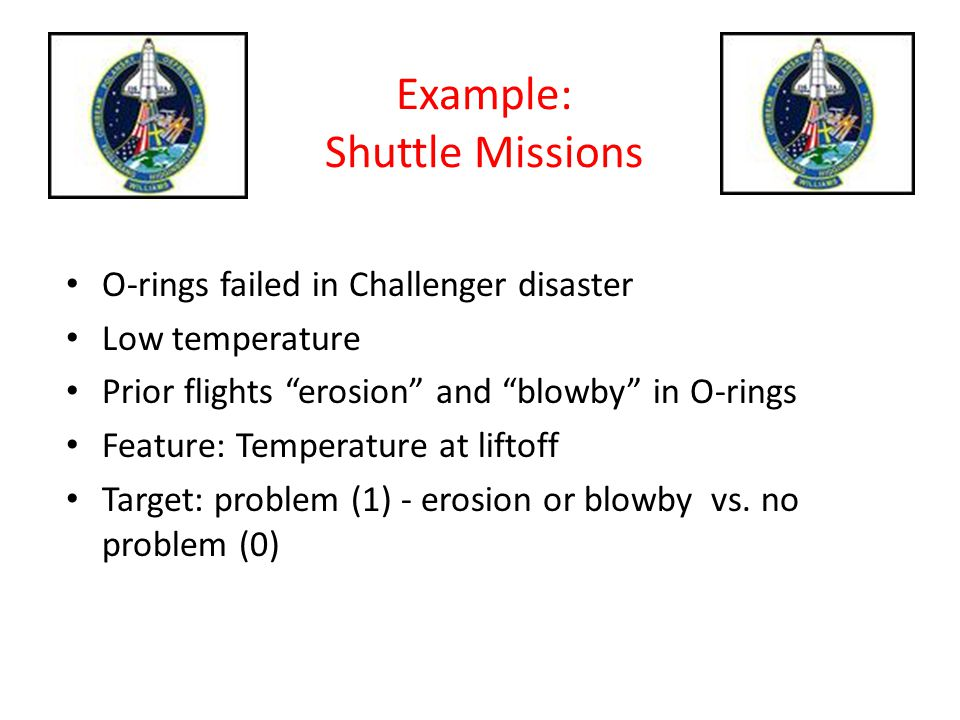 """Example: Shuttle Missions O-rings failed in Challenger disaster Low temperature Prior flights """"erosion"""" and """"blowby"""" in O-rings Feature: Temperature a"""