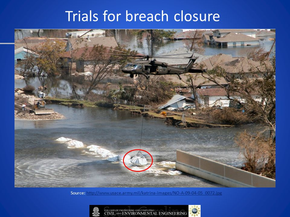 Trials for breach closure Source: http://www.usace.army.mil/katrina-images/NO-A-09-04-05_0072.jpg