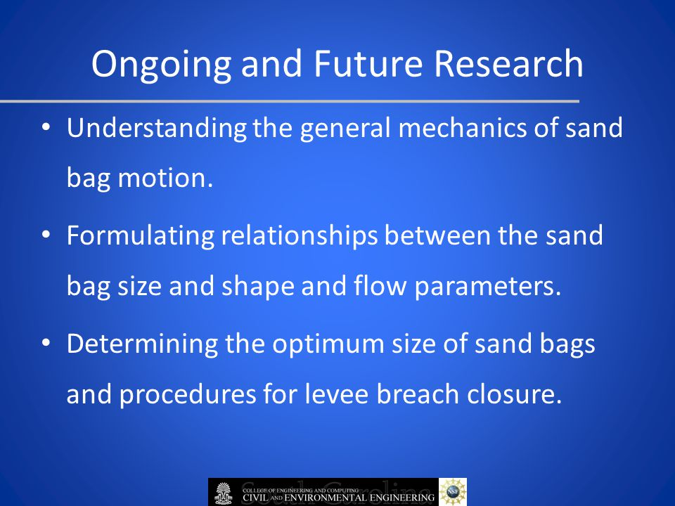 Ongoing and Future Research Understanding the general mechanics of sand bag motion.